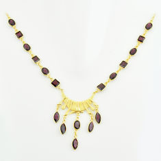 925 silver 36.55cts natural red garnet marquise 14k gold necklace p74935