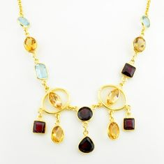 925 silver 34.20cts natural yellow citrine garnet topaz 14k gold necklace p75039