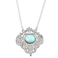 925 silver 3.61cts pink australian opal (lab) white topaz round necklace c2484