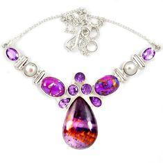 925 silver purple cacoxenite super seven (melody stone) amethyst necklace j13348
