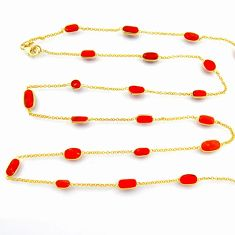 925 silver 36.46cts red coral 14k gold 35inch chain necklace jewelry p91655