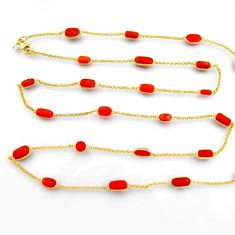 925 silver 40.54cts red coral 14k gold 36inch chain necklace jewelry p91659