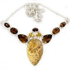 925 silver yellow fossil coral (agatized) petoskey stone topaz necklace j13332