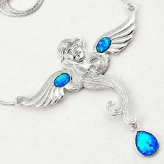 925 STERLING ELEGANT ANGLE WINGS AUSTRALIAN OPAL SILVER CHAIN NECKLACE H20999