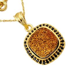 925 STERLING SILVER 14K GOLD PENDANT CHAIN JEWELRY TITANIUM DRUZY SPINEL H32197