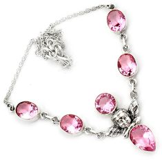 925 sterling silver cupid angel wings pink kunzite necklace jewelry h70157