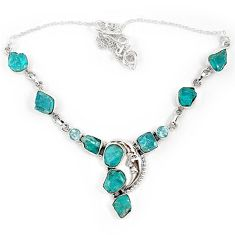 925 sterling silver half moon blue apatite rough topaz necklace jewelry j10340