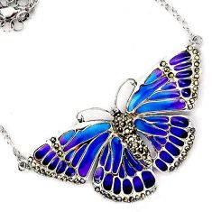 925 STERLING SILVER MULTI COLOR ENAMEL MARCASITE BUTTERFLY CHAIN NECKLACE H20765