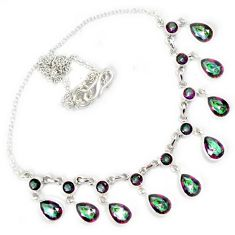 925 sterling silver multi color rainbow topaz necklace jewelry h69302