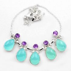 925 sterling silver 35.51cts natural aqua chalcedony amethyst necklace p88623