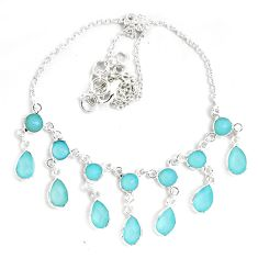 925 sterling silver 25.26cts natural aqua chalcedony necklace jewelry p40503