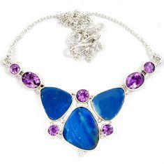 925 sterling silver natural blue australian opal (lab) amethyst necklace j13352