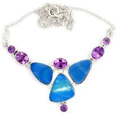 925 sterling silver natural blue australian opal (lab) amethyst necklace j13354