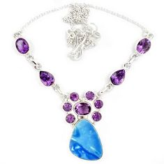 925 sterling silver natural blue australian opal (lab) amethyst necklace j13356