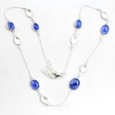 925 sterling silver 17.91cts natural blue iolite oval necklace jewelry p43376