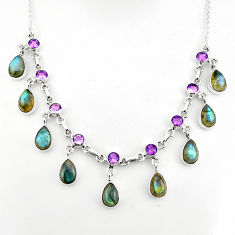 925 sterling silver 40.46cts natural blue labradorite amethyst necklace p81492