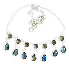 925 sterling silver 26.09cts natural blue labradorite necklace jewelry p40519