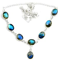 925 sterling silver 29.20cts natural blue labradorite necklace jewelry p72955