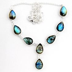 925 sterling silver 42.73cts natural blue labradorite necklace jewelry p92940