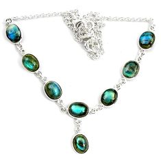 925 sterling silver 29.93cts natural blue labradorite oval necklace p72952