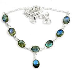 925 sterling silver 29.34cts natural blue labradorite oval necklace p72958