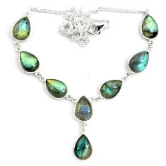 925 sterling silver 41.96cts natural blue labradorite pear necklace p72936