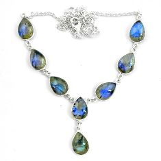 925 sterling silver 43.18cts natural blue labradorite pear necklace p72940