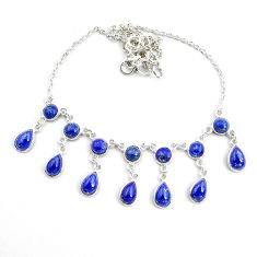 925 sterling silver 24.38cts natural blue lapis lazuli necklace jewelry p44533