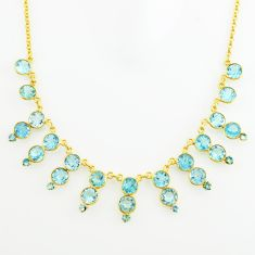 925 sterling silver 52.70cts natural blue topaz 14k gold necklace jewelry p74907