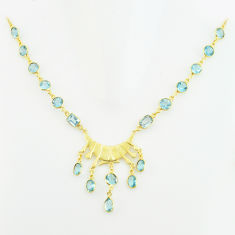 925 sterling silver 40.06cts natural blue topaz 14k gold necklace jewelry p74927