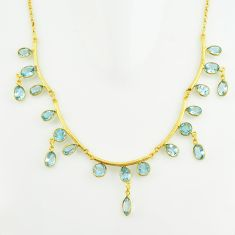 925 sterling silver 36.85cts natural blue topaz 14k gold necklace jewelry p74992