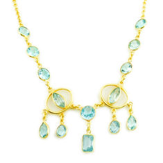 925 sterling silver 28.47cts natural blue topaz 14k gold necklace jewelry p75026