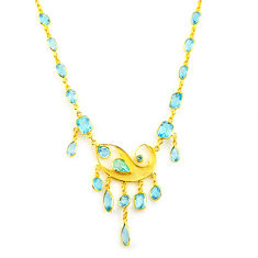 925 sterling silver 44.38cts natural blue topaz 14k gold necklace jewelry p91712