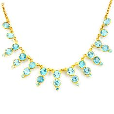 925 sterling silver 48.98cts natural blue topaz 14k gold necklace jewelry p91768