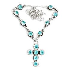 925 sterling silver 13.73cts natural blue topaz cross necklace jewelry p48210