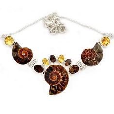 925 sterling silver natural brown ammonite fossil smoky topaz necklace j13323