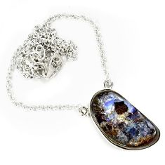 925 sterling silver natural brown boulder opal fancy necklace jewelry h70217