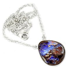 925 sterling silver natural brown boulder opal pear necklace jewelry h70220