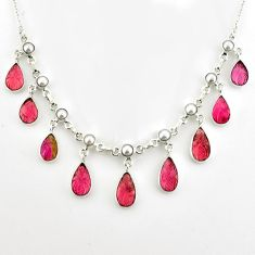 925 sterling silver 55.07cts natural carving tourmaline pearl necklace p80466