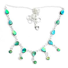 925 sterling silver 17.05cts natural green abalone paua seashell necklace p44504