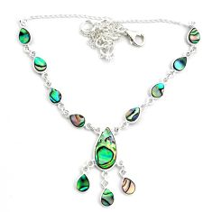 925 sterling silver 18.51cts natural green abalone paua seashell necklace p44507