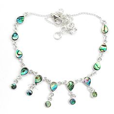 925 sterling silver 15.79cts natural green abalone paua seashell necklace p44510