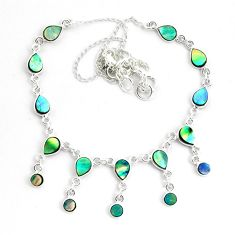 925 sterling silver 16.03cts natural green abalone paua seashell necklace p44514