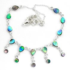 925 sterling silver 16.05cts natural green abalone paua seashell necklace p44518