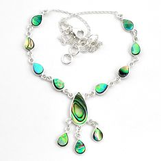 925 sterling silver 20.23cts natural green abalone paua seashell necklace p44536