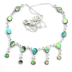 925 sterling silver 16.42cts natural green abalone paua seashell necklace p44539