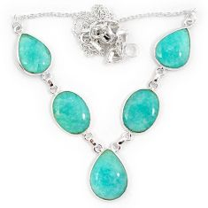 925 sterling silver natural green amazonite (hope stone) necklace jewelry j10328