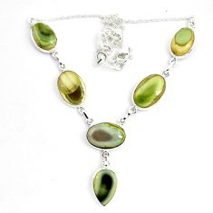 925 sterling silver 54.68cts natural green imperial jasper necklace p70779