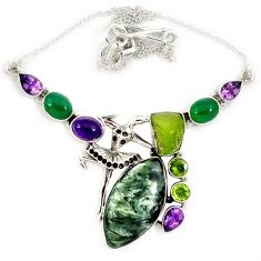 925 sterling silver natural green seraphinite (russian) amethyst necklace j13343