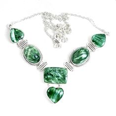 925 sterling silver 66.47cts natural green seraphinite (russian) necklace p47623
